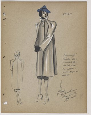 Coat with Pointed Drapes over Shoulder, with Blue Hat