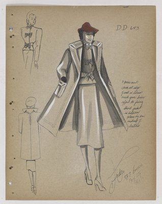Suit and Coat with Three Bows on Jacket and Red Hat