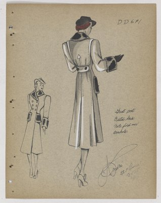 Coat with Fur Collar, Cuffs and Pockets with Arrow Detail at Back