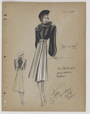 Half N' Half Coat with Fur Top and Bow Collar, with Full Skirt