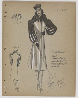 Coat with Fur Collar and Strips down Sleeve