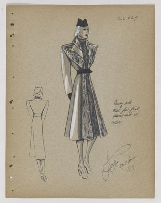 Coat with Fur Front Panel and Collar, with Full Skirt Front