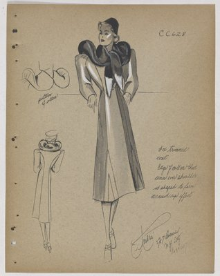 Coat with Dark Fur Collar Tied in Front with White Points