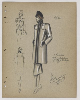Coat with Fur Collar and Fur Trim at Opening down Front