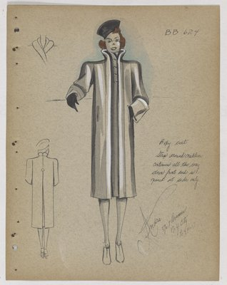 Coat with Stand-Up Collar and Double Welt Pockets