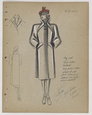 Coat with Layered Standing Collar and Stand Pockets