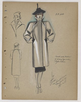 Coat with Stand-Up Collar and Raglan Sleeve, with Black Skirt and Hat