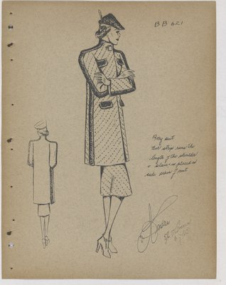 Coat with Dot Pattern and Fur Trim along Sides
