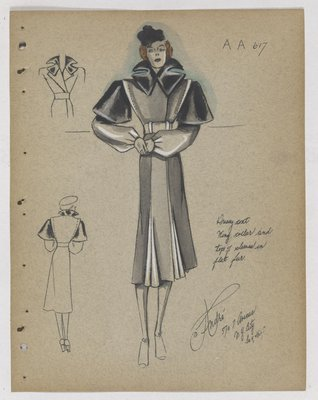 Coat with Fur Wing Collar and Layer of Fur at Top of Sleeve