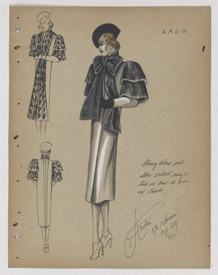 Coat with Stole Collar Tied into Bow and Double Layers at Top of Sleeve