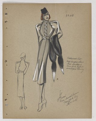 Coat with Scalloped Opening and Armhole of Sleeve