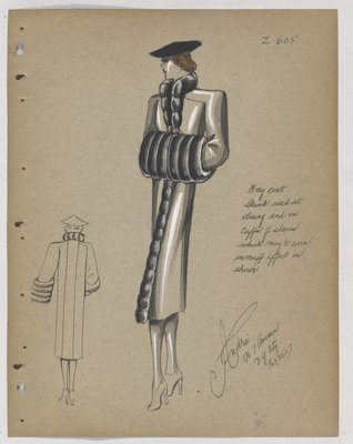 Coat with Fur Trim along Opening and at Large Cuffs