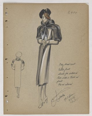 Coat with Fur Collar Tied By Tails at Front, with Fur on Sleeve