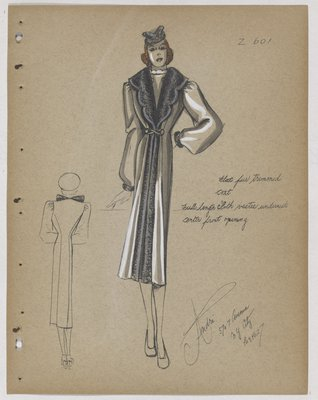Coat with Scalloped Opening at Top, Trimmed in Fur