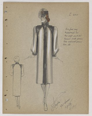 Coat with Fur Collar and Opening and Fur over Shoulders