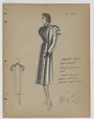 Coat with Fur Rolls Placed Vertically on Shoudler and Sleeve