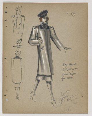 Coat with Square Raglan Sleeves and Dark Fur Collar