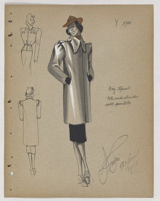 Boxy Coat with Pointed Lapels, with Orange Hat and Black Skirt