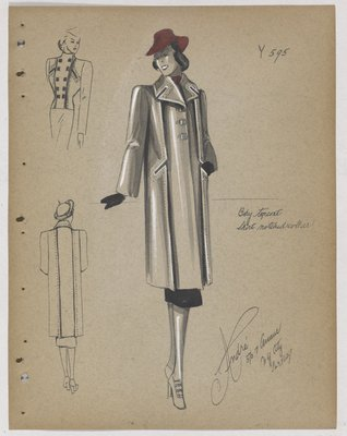 Coat with Notched Collar, with Red Hat and Black Skirt