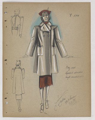 Coat with Rounded Collar and Patch Pockets, with Red Skirt and Hat
