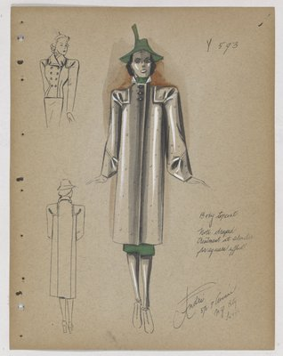 Coat with Draped Treatment at Shoulders, with Green Hat and Skirt
