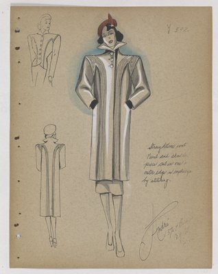 Coat with Stitching along Front and Shoulder Piece, with Red Hat