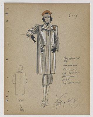 Coat with Cord Trim Around Circular Pockets, with Orange Hat
