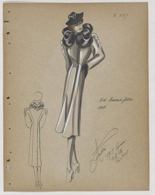 Coat with Fur Collar and Ruffle along Upper Sleeve
