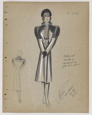 Coat with Scalloped Fur on Yoke and Sleeve, with Bow Closures