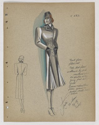 Coat with Fur Outlined Front Flare, with Fur on Triangle Pockets