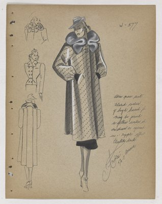 Coat with Dot Pattern, with Grey Fur Collar and Hat