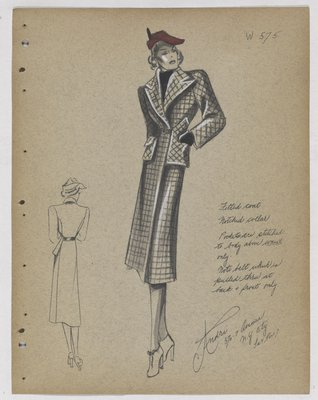 Checkered Coat with Patch Pockets and Red Hat
