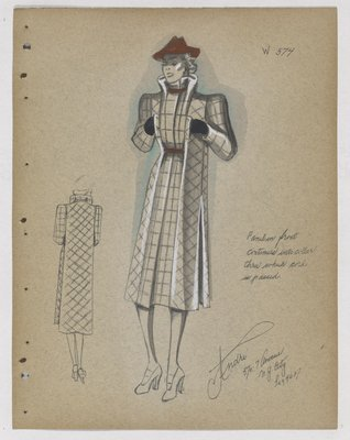 Coat with High Slit Pockets, with Red Cord at Neck and Waist