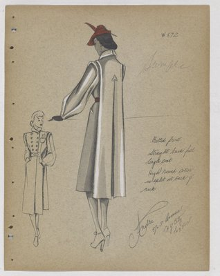 Coat with Belted Front and Arrowhead Detail at Back, with Red Hat