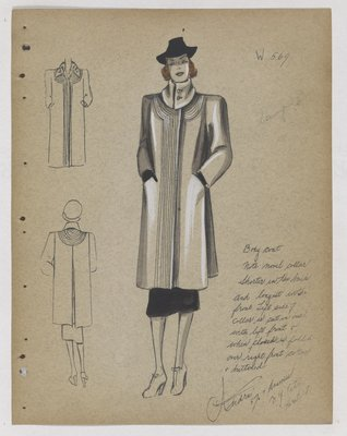 Coat with Lines Around Folded Collar and down Front