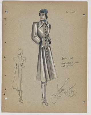 Coat with Deep Pointed Collar and Pockets, with Blue Hat