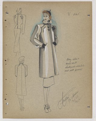 Coat with Scalloped Armholes and Slit Pockets