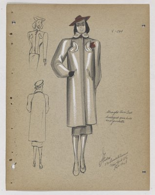 Coat with Scalloped Armholes and Pockets, with Red Hat and Handkerchief