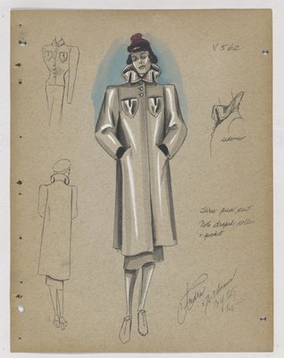 Coat with Draped Collar and Pocket, with Purple Hat
