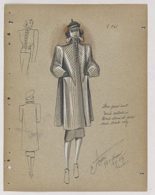 Boxy Coat with Lined Pattern, with Green Hat and Gloves