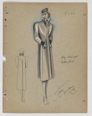 Coat with High Standing Collar and Triangle Patch Pockets
