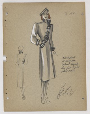 Coat with Fur Trim along Diagonal Scalloped Opening and Cuff