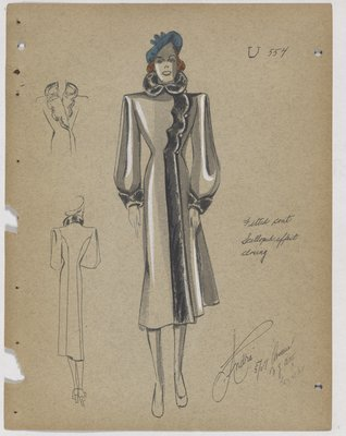 Coat with Fur Trim along Scalloped Opening, with Blue Hat