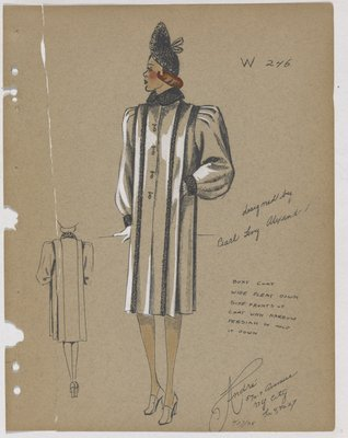 Boxy Coat with Strips of Fur down Front, with Fur Collar and Cuff