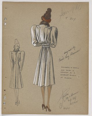 Coat with Fullness in Bodice and Skirt, with Bands of Elastic at Waist