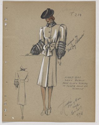 Coat with Fur Cuff and Strips at Lower Sleeve, with Bow at Waist