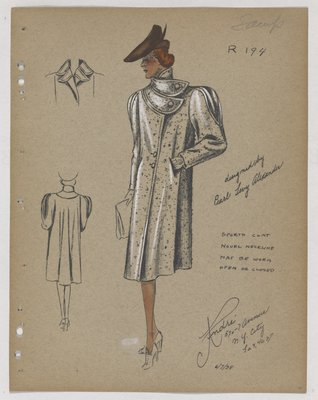 Sports Coat with Double Pointed Collar, with Brown Hat
