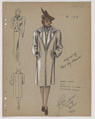 Coat and Suit with Stitching on Collar and Pockets