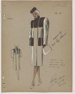 Coat with Three Brown Fur Panels at Yoke and Detachable Fur Pockets