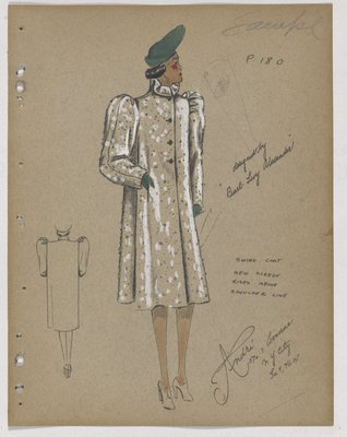 Coat with Sleeves Rising above Shoulder Line, with Green Hat and Gloves